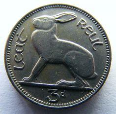 Ireland: 1961 Threepence Coin - Irish Hare And Harp (Lot No C2883)