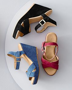 Feminine wedges in supple suede give you a way to stand out (or up) in a crowd. These refined beauties are made just for us in Italy and feature a crisscrossed vamp that lengthens the leg.
