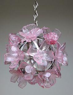 Pink flower chandelier lighting | girls_bedroom | Pinterest | Flower ...
