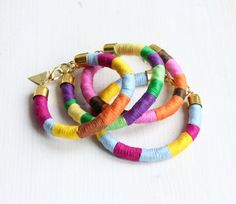 Set of 4 rope bracelets /// Summer colors /// Bright by Tzunuum, $120.00