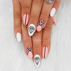 Trendy Pink Geometric Manicure ❤ Totally Hip Summer Nail Designs Your Frie. - Nail Design Ideas, Gallery of Best Nail Designs Acrylic Nails Natural, Almond Acrylic Nails, Best Acrylic Nails, Acrylic Nail Designs, Clear Acrylic, Acrylic Art, Stylish Nails, Trendy Nails, Cute Nails