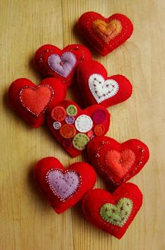 Lovely wool felt hearts - a cute way for cubs to start learning to use needle and thread.