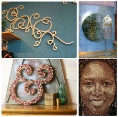 Using cork decorate walls Cork Art, Wine Cork Crafts, Diy And Crafts, Wall Decor, Frame, Handmade, Decorate Walls, Beach, Ideas