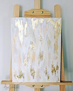 Hoja de oro blanco gris oro Real de lienzo por AyaShanshalArt