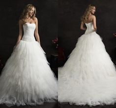 2017 Ball Wedding Dresses Tiered Tulle Backless Sweep Train Strapless Cheap