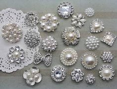 Crystal rhinestone pearl embellishments flat back (YOU PICK 3 pcs/same style) bridal wedding accessories vintage button flower centers