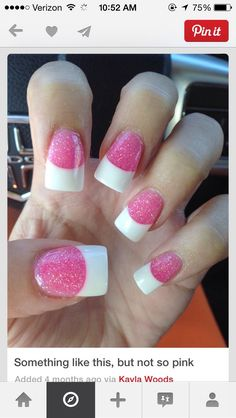 Pink glitter nails with white tips. mellow pink, like maybe a baby pink? White Tip Nails, Pink Glitter Nails, Dark Nails, French Tip Nails, French Tips, Get Nails, Fancy Nails, Love Nails, Trendy Nails