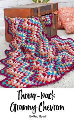 Throw-back Granny Chevron free crochet pattern in With Love yarn.