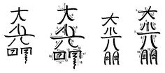 Variant forms of Dai Ko Myo: less than precise forms of the correct symbol, but they are not to be considered totally wrong