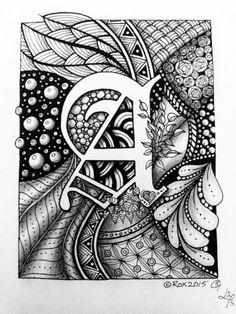 Lettering - R - Zentangle - Dangle - Monogram by rroxyann on DeviantArt Doodle Art Letters, Doodle Art Journals, Drawing Letters, Letter Art, Doodle Alphabet, Doodle Art Drawing, Zentangle Drawings, Zentangle Patterns, Art Drawings