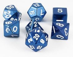 Tell your story with metal RPG dice. These metal dice are made with heavy, solid zinc and plated with shiny, polished nickel. The mirrored blue finish looks absolutely amazing. All numbers are oversiz