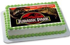 Jurassic Park Edible Birthday Cake Topper Birthday Party At Park, Dinosaur Birthday Party, 8th Birthday, Birthday Ideas, Edible Cake Toppers, Birthday Cake Toppers, Cupcake Toppers, Jurrasic Park Cake, Park Party Decorations