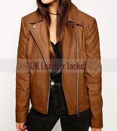 Handmade Women Biker and Slim Leather Jacket - Genuine Leather #Handmade #Motorcycle