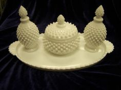 Rare Fenton hobnail milk glass vanity set - have a perfume bottle but it has a round (not spiky) topper