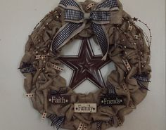 Burlap pull through wreath with primitive accents
