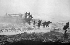 """Any soldier who goes into battle with out his sword is improperly armed."" Far right in photo Jack Churchill storming Normandy Beach with his long sword drawn, a long bow and Claymore strapped to his back.  Jack Churchill - Wikipedia, the free encyclopedia"
