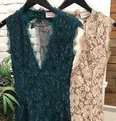 A closer look at our lovely teal and cream lace cocktail dresses.  #ShopTownSquare #ApricotLaneTS
