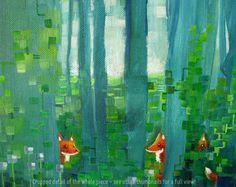 Forest themed nursery art  Original oil painting by Honeyacid