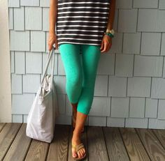 LuLaRoe Turquoise leggings and black and white stripped Irma | Shop LLR Meg Clothing, Shoes & Jewelry - Women - leggings outfit for women - http://amzn.to/2kxu4S1