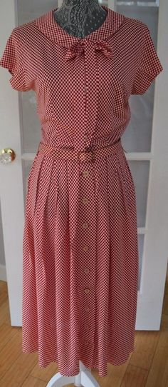 True Vintage 1940s 50's Red and White Gingham pleated skirt Dress/Peck and Peck