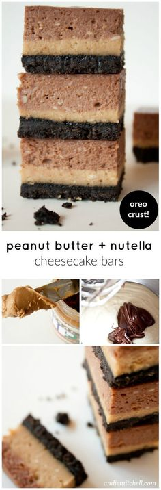 Peanut Butter Nutella Cheesecake Bars! These creamy and rich bars are seriously incredible. Silky smooth layers of peanut butter and Nutella cheesecakes with an Oreo crust! They will be gone in no time!
