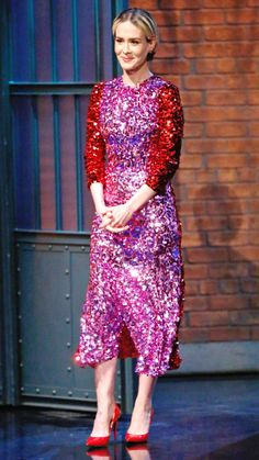 Sarah Paulson in a pink-and-red sequin midi dress