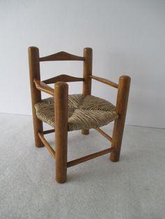 Miniature Chair Vintage Raffia Rush Seat Chair Doll by HobbitHouse