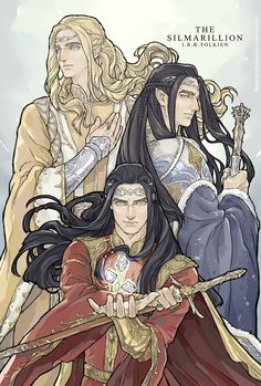Finwë's sons: the fathers of the Three Houses of Noldor who journeyed into Middle-earth: Finarfin, Fingolfin, and Fëanor. (Source: Star)[[MORE]]Finarfin, hand over heart and looking back, is grieved and shows his devout nature. He, the wisest of Finwë's sons, returned to Aman. Fingolfin glances side-long with both mistrust and sorrow down towards Fëanor, who slew the Teleri, burned the ships, and betrayed the other Noldor. He leads the remaining host, who did not return to Valinor with…