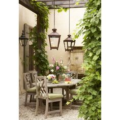 Charming Life 'ALFRESCO - love the hanging lanterns from pergola Outdoor Rooms, Outdoor Dining, Outdoor Gardens, Outdoor Decor, Dining Area, Outdoor Lighting, Rustic Outdoor, Lantern Lighting, Courtyard Gardens