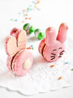 Easter Bunny Macaroons. Pinned for Kidfolio, the parenting mobile app that makes sharing a snap