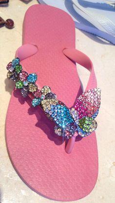 Pink Skies N' Butterflies ~Flipinista® Bling Flip Flops, Cute Flip Flops, Flip Flop Shoes, Cute Sandals, Cute Shoes, Me Too Shoes, Bling Bling, Decorating Flip Flops, Kinds Of Shoes