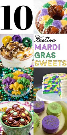 A collection of 10 desserts that bring all the festive purple, green, and yellow you can handle! | HomemadeHooplah.com