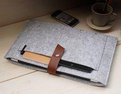 "Macbook pro 13"" Retina Macbook Case Sleeve Wool Felt with Genuine Leather Custom Made Felt Sleeve for Macbook pro 13""Retina--607"