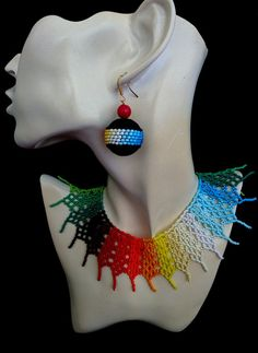 25a6d5e2b5fc Multicolored collar necklace Rainbow jewelry for her Beaded