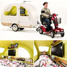 QTvan Mini Camper Trailer Designed For Use With Electric QTvan   La caravane design pour scooter