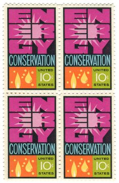 """www.wordsandeggs.tumblr.com  United States postage stamp: energy conservation:  c. 1974 """"The text of the 1974 USPS commemorative set noted, """"Until the national goal of self-sufficiency in energy is realized, the message of the stamp will be valid. All Americans must cooperate to conserve all forms of energy."""" Those words still ring true."""" —text found via Electric Consumer"""