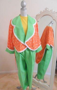 PROFESSIONAL CLOWN COSTUME  COAT AND PANTS LADIES(MED-LARGE)ORANGE LIME  GREEN  #Handmade #CompleteCostume