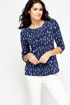 Pleated Front Mix Print Top