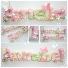 Floral personalised name felt banner