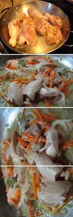Escabeche de pollo, la receta! #pollo #escabeche #ensaladas #zanahoria #laurel #puerro #vino #oregano #pimienta #sal #tomatoes #tomatosoup #tomate #tomates #tomateseco #comohacer #rellenos #salud #saludable #salad #receta #recipe #tasty #food Si te gusta dinos HOLA y dale a Me Gusta MIREN… Burger Recipes, Mexican Food Recipes, Chicken Basil Recipes, Fermentation Recipes, Puerto Rican Recipes, Cooking Recipes, Healthy Recipes, I Love Food, Us Foods