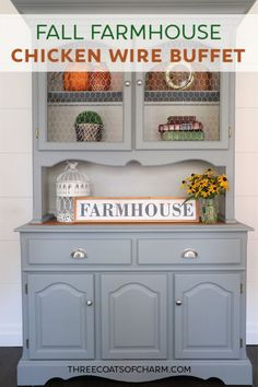 Click through to get out BEST tips for working with chicken wire to create the perfect fall farmhouse buffet. Also see the details of this furniture makeover including before and after photos! Decor Style Home Decor Style Decor Tips Maintenance