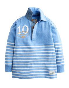 Blue Marl Stripe Jnrmischiefs Boys Rugby Shirt | Joules UK