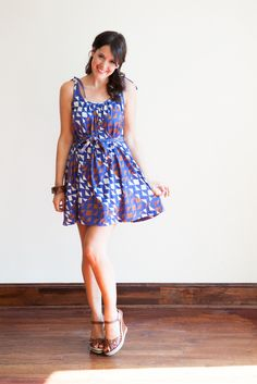 Tie-waist triangle print dress - $68 {Bloom}