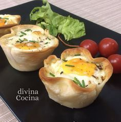 Egg, ham and cheese tartlets recipe- - Tapas, Kitchen Recipes, Cooking Recipes, Brunch, Crudite, Healthy Snacks, Healthy Recipes, Comidas Light, Mezze