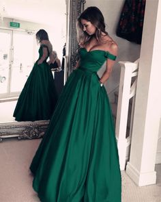 SSPBridal Off-Shoulder Satin Prom Dresses Long Formal Evening Gowns for Woman Ball Gowns with Pockets Prom Dresses With Pockets, Cute Prom Dresses, Elegant Prom Dresses, Beautiful Prom Dresses, Ball Dresses, Ball Gowns, Dress Prom, Long Dresses, Dress Long