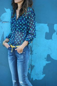 jade dots on navy sheer silk and mustard belt - like the colors  The Simply Luxurious Life®