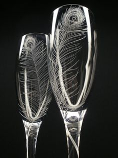 Peacock Feathers 2 Champagne Flutes Hand by daydreemdesigns