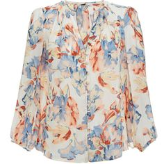 Joie Amatite Multicolour Floral Print Silk Blouse (8.195 RUB) ❤ liked on Polyvore featuring tops, blouses, multicolour, button front top, balloon sleeve blouses, silk blouse, button front blouse and flower print blouse
