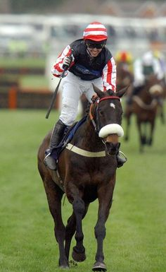 Amberleigh House ridden by Graham Lee, winner of the 2004 Grand National, evoking memories of Red Rum's previous triumphs for trainer Ginger McCain. Types Of Horses, Sport Of Kings, Thoroughbred Horse, Racehorse, Grand National, Sports Photos, Horse Racing, Equestrian, Riding Helmets