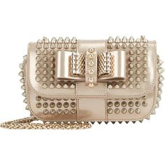 CHRISTIAN LOUBOUTIN Spiked nude clutch found at Nudevotion.com
